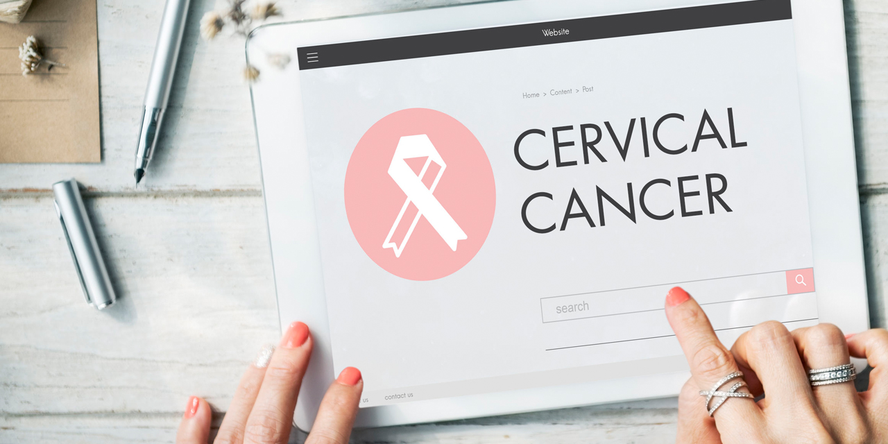 laptop with the word cervical cancer